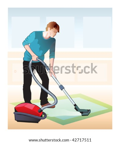 cleaner man - stock vector