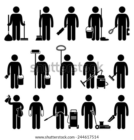 Cleaner Man with Cleaning Tools and Equipments Stick Figure Pictogram Icons - stock vector