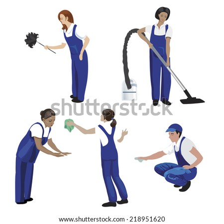 cleaners - stock vector