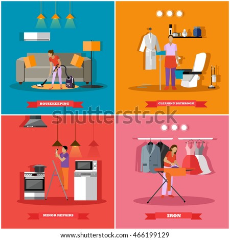 Cleaning Home Service Concept Vector Illustration Stock Vector ...
