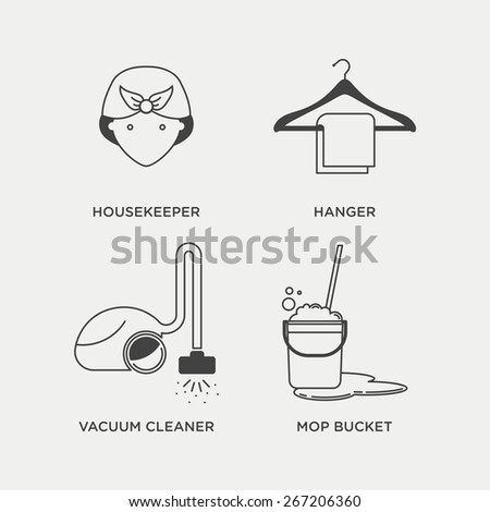 Cleaning and housekeeping icon set in minimal style, line symbols - stock vector