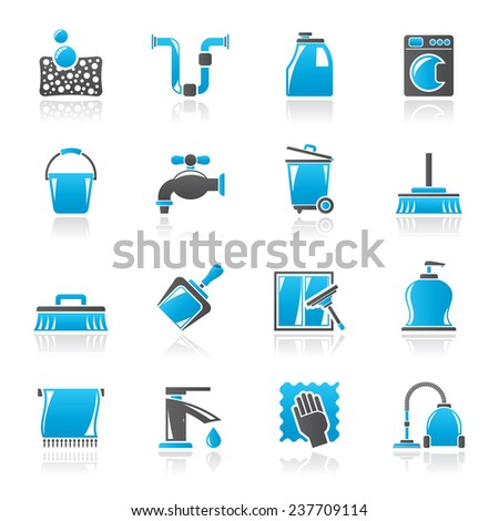 Cleaning and hygiene icons - vector icon set, Created For Print, Mobile and Web  Applications