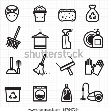 Cleaning black icons - stock vector