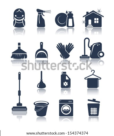 Cleaning blue icons - stock vector