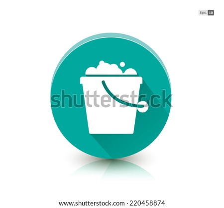 Cleaning Bucket Symbol on Round Button - stock vector