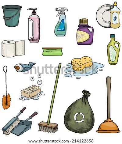 Cleaning equipment set, vector illustration - stock vector