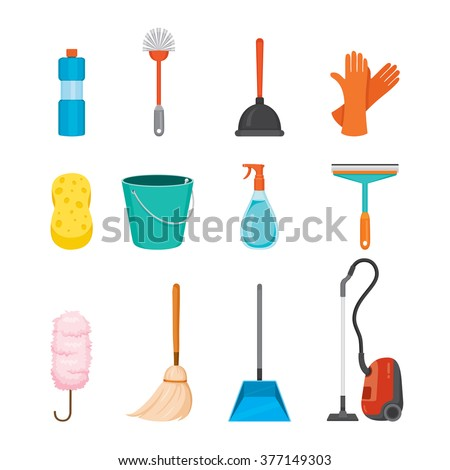 Cleaning Home Appliances Icons Set Housework Domestic Tools Symbol Spring Season