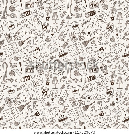 cleaning house - seamless background - stock vector