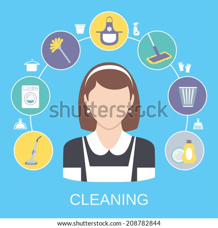 Cleaning household service maid icons composition with dish detergent vacuum cleaner abstract solid isolated vector illustration - stock vector