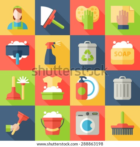 Cleaning icon flat set isolated with windows dishes floor washing isolated vector illustration - stock vector