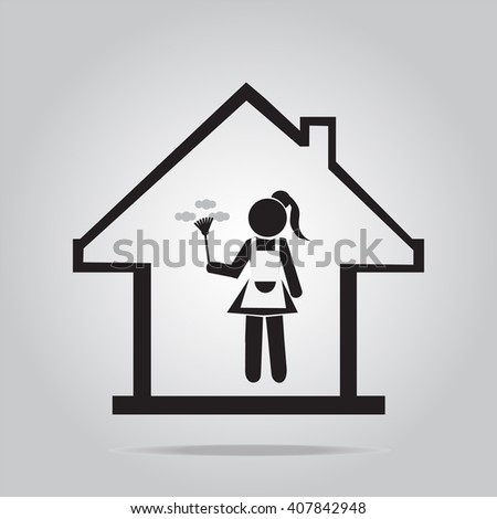 Cleaning icon, Maid with dust brush - stock vector
