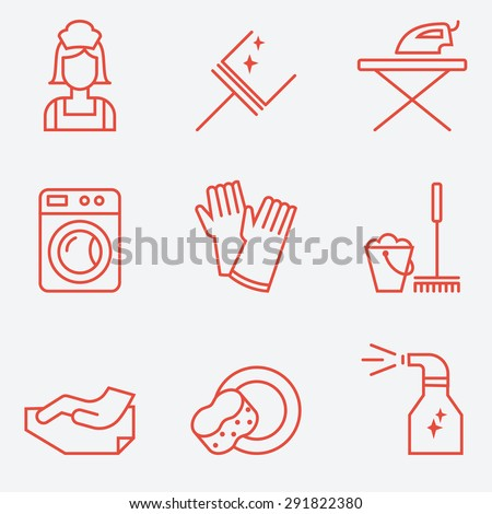 Cleaning Icons, flat design, thin line style - stock vector