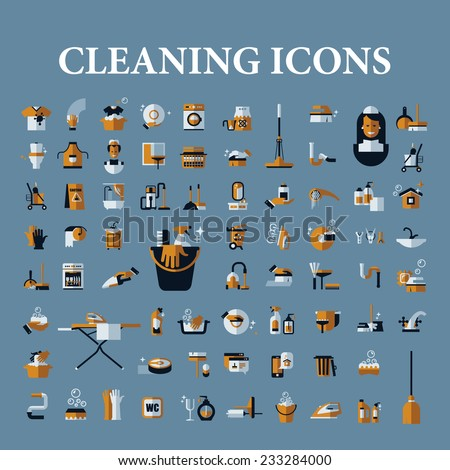 Cleaning icons set on a blue background - stock vector
