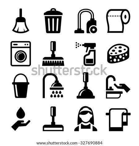 Cleaning Icons Set on White Background. Vector