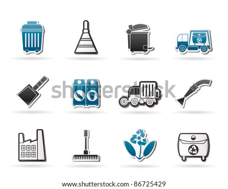 Cleaning Industry and environment Icons - vector icon set