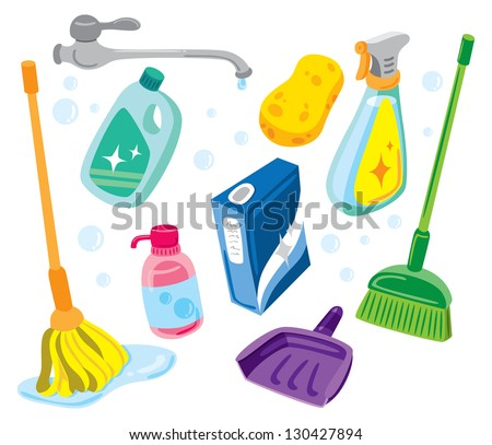 cleaning kit icons - stock vector