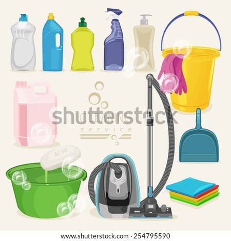 Cleaning kit icons. Supplies. Vector illustration. - stock vector