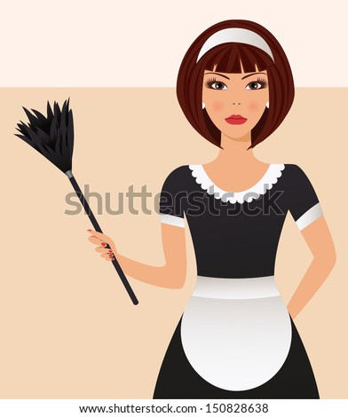 Cleaning lady - stock vector