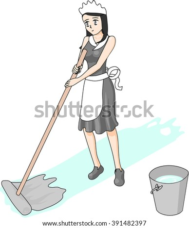 Cleaning lady is cleaning the floor