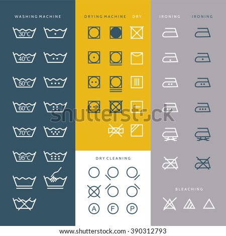 Cleaning Laundry And Washing Icons, set of vector elements and illustration