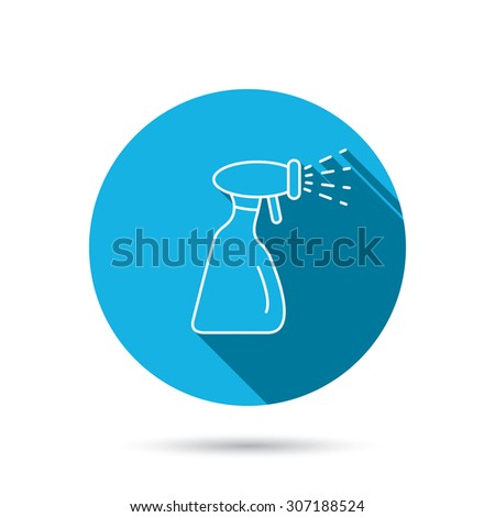 Cleaning spray bottle icon. Washing tool sign. Blue flat circle button with shadow. Vector - stock vector