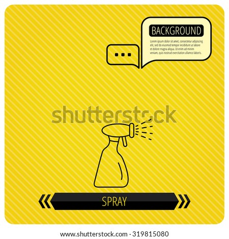 Cleaning spray bottle icon. Washing tool sign. Chat speech bubbles. Orange line background. Vector - stock vector