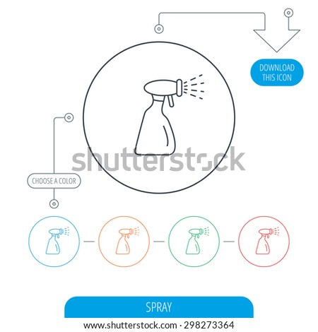 Cleaning spray bottle icon. Washing tool sign. Line circle buttons. Download arrow symbol. Vector - stock vector