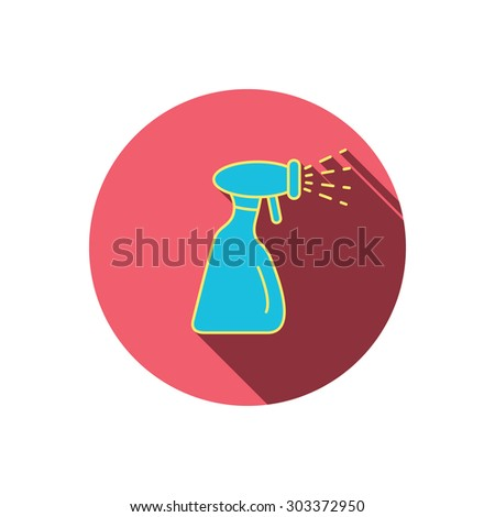 Cleaning spray bottle icon. Washing tool sign. Red flat circle button. Linear icon with shadow. Vector - stock vector