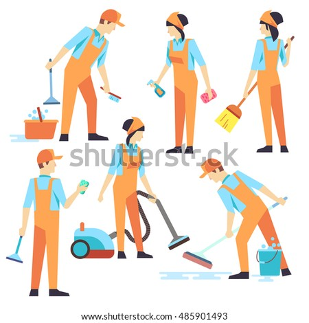 Cleaning staff in different positions. Vector illustration. Cleaning service, people vacuuming and washing