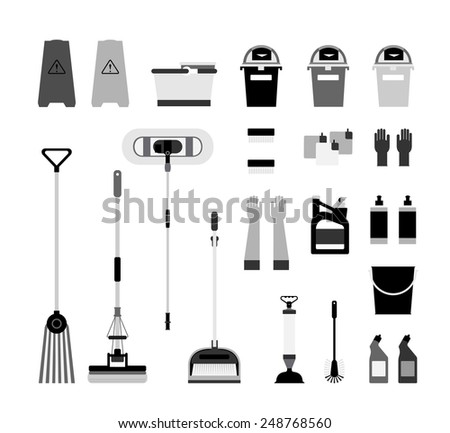 Cleaning supplies icons - stock vector