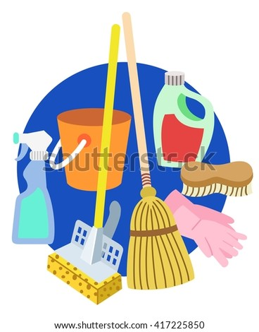 Cleaning supplies symbols - stock vector