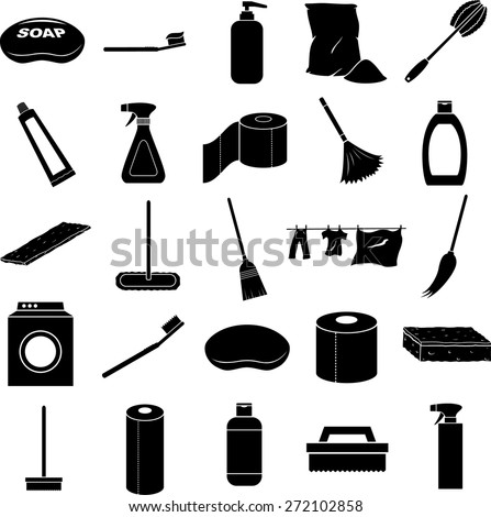 cleaning symbols set - stock vector