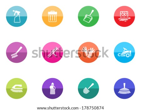 Cleaning tool icon series in color circles. - stock vector