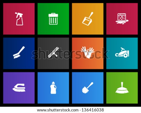 Cleaning tool icon series  in Metro  style - stock vector