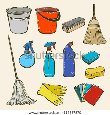 Cleaning tool set - stock vector
