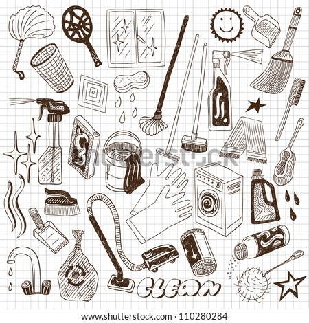 cleaning tools - stock vector