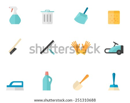Cleaning tools icons in flat color style - stock vector