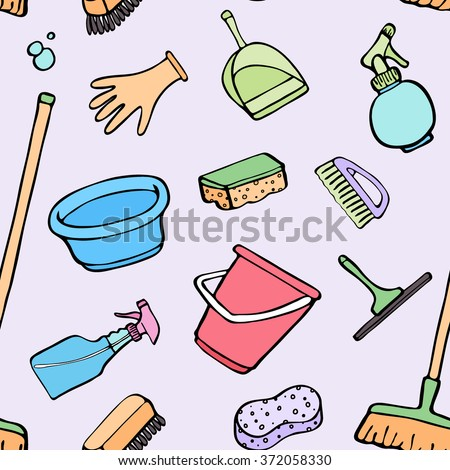 Cleaning tools sketch. Seamless pattern with hand-drawn cartoon icons - bucket, sponge, mop, gloves, spray, brush, shovel. Doodle drawing. Vector illustration - swatch inside - stock vector