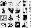 Cleaning vector icons set on gray. - stock vector