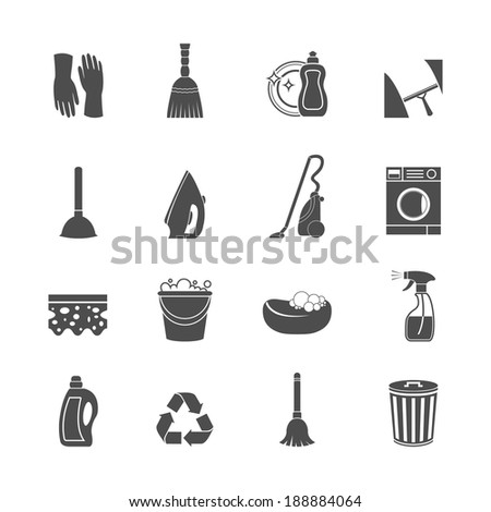 Cleaning washing housework icons set of mop vacuum cleaner bucket sponge isolated vector illustration - stock vector