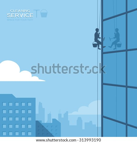 Cleaning windows on skyscraper - stock vector
