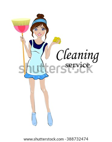 cleaning woman. Cleaning services. The cleaner with a mop. Cleaning homes and offices. Cheerful girl with a  broom. She will purify all. Woman in uniform. Easy cleaning. Vector illustration - stock vector