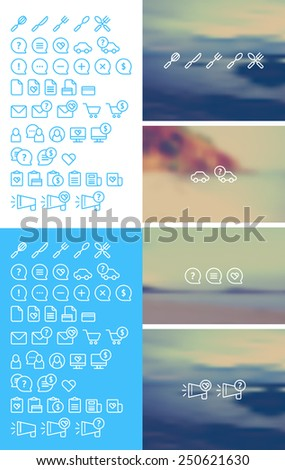 Cleanse Icons Set on blurred background  - stock vector