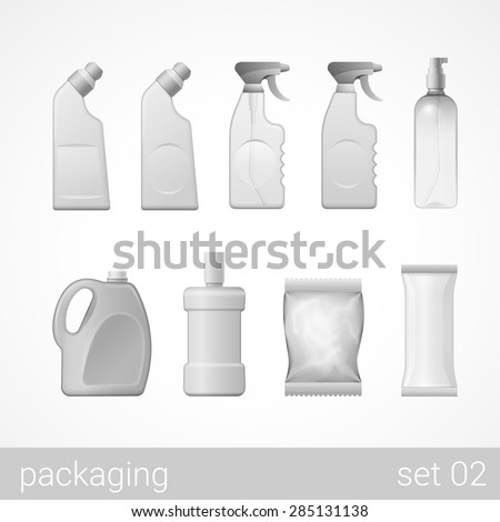 Cleanser detergent spray shampoo soap plastic package set. Blank white gray packaging objects isolated on white vector illustration. - stock vector