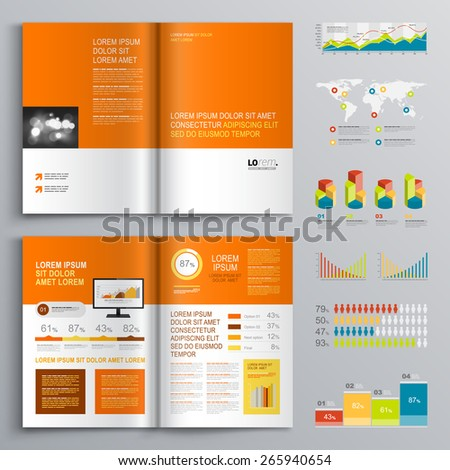 Clear brochure template design with color shapes and elements. Cover layout and infographics