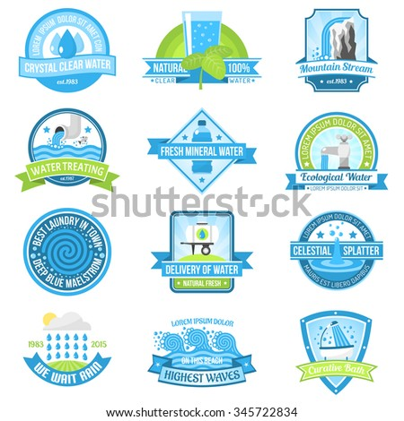 Clear fresh high quality pure water emblem set isolated vector illustration - stock vector