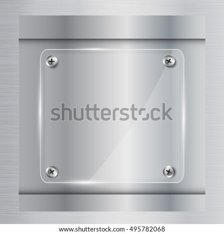 clear glass plate with screw on metal texture background