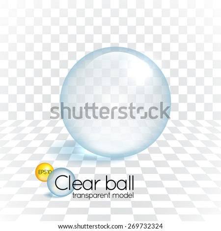 Clear glass transparency sphere cast shadow on a chess grid background - stock vector