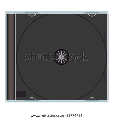 Clear music cd case with black plastic and copyspace - stock vector