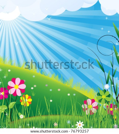 Clear sunny skies and blooming meadow